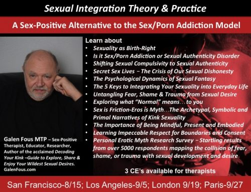 Is the Problem Sex/Porn Addiction or Fear of Sexual Honesty – Sexual Integration Theory and Practice – A Sex-Positive Alternative to Sex/Porn Addiction Therapy – London 9/19