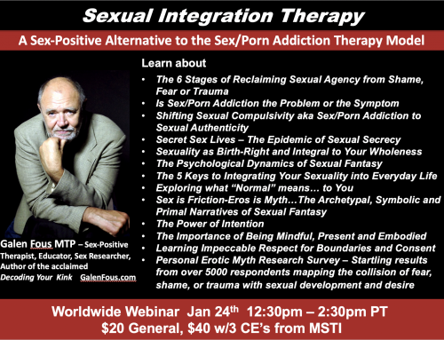 Sexual Integration Theory and Therapy Webinar on 1/24 – 3 CE's available