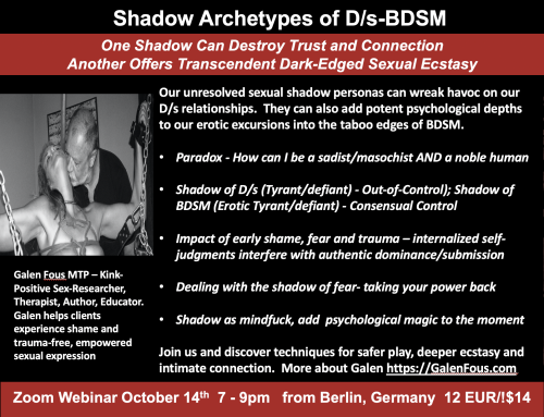 Shadow Archetypes of D/s and BDSM – October 14th  7-9pm Berlin time – online webinar